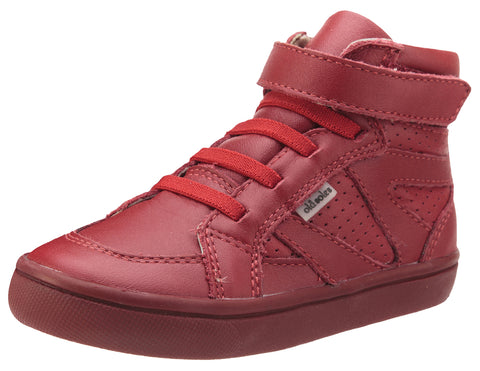 Old Soles Girls and Boy's Starter Shoe Red Perforated Leather Zig Zag Design Elastic Lace Hook and Loop High Top Sneaker