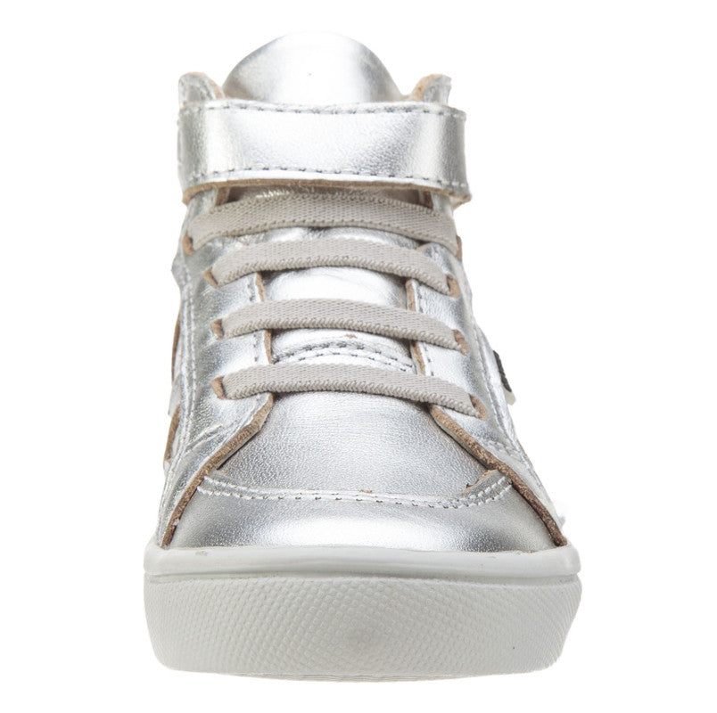 Old Soles Girls and Boy's Starter Shoe Silver Perforated Leather Zig Zag Design Elastic Lace Hook and Loop High Top Sneaker