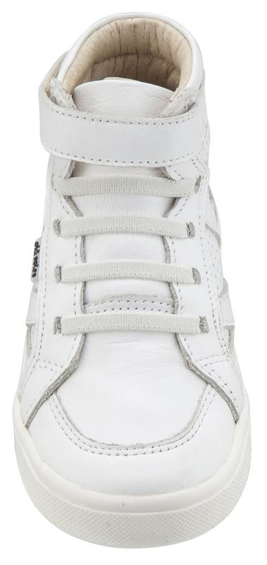 Old Soles Boy's & Girl's 6001 Starter Shoe White Perforated Leather Zig Zag Design Elastic Lace Hook and Loop High Top Sneaker