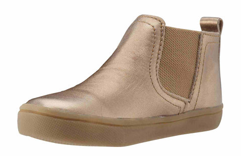 Old Soles Girl's and Boy's Town Local Old Gold Smooth Leather Slip On High Top Ankle Boot Sneaker