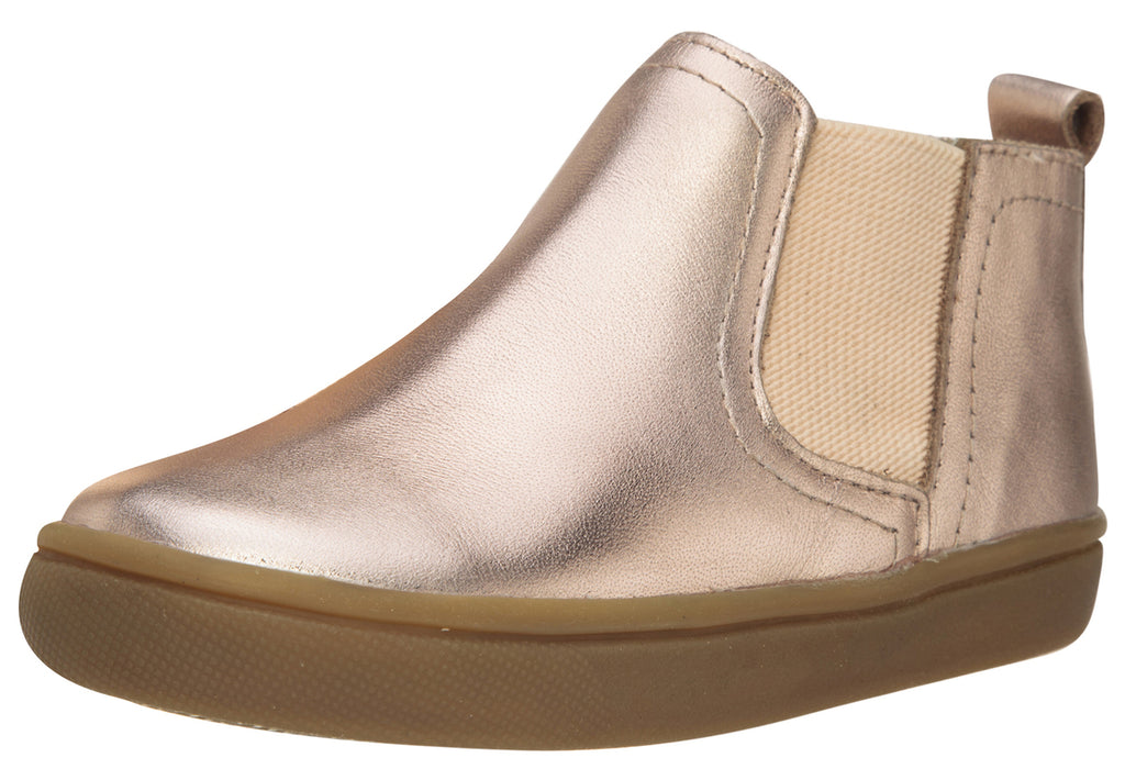 Old Soles Girl's and Boy's Town Local Copper Smooth Leather Slip On High Top Ankle Boot Sneaker