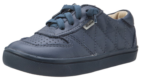 Old Soles Girl's and Boy's Urban Quilt Denim Stitched Perforated Leather Lace Up Side Zipper Sneaker