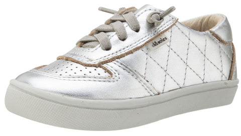 Old Soles Girl's and Boy's Urban Quilt Silver Stitched Perforated Leather Lace Up Side Zipper Sneaker