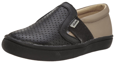 Old Soles Girl's and Boy's 6004 Hoffing Shoe Black Taupe Perforated Upper and Smooth Leather Back Slip On Loafer Sneaker
