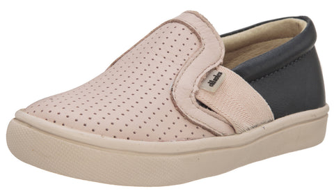 Old Soles Girl's and Boy's 6004 Hoffing Shoe Powder Pink Navy Perforated Upper and Smooth Leather Back Slip On Loafer Sneaker