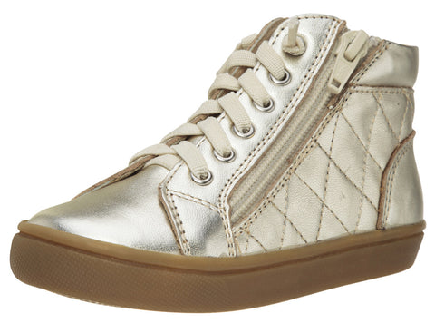Old Soles Boy's and Girl's 6007 Eazy-Q Gold Quilt Stitch Leather High Top Lace Up Side Zipper Side Sneaker