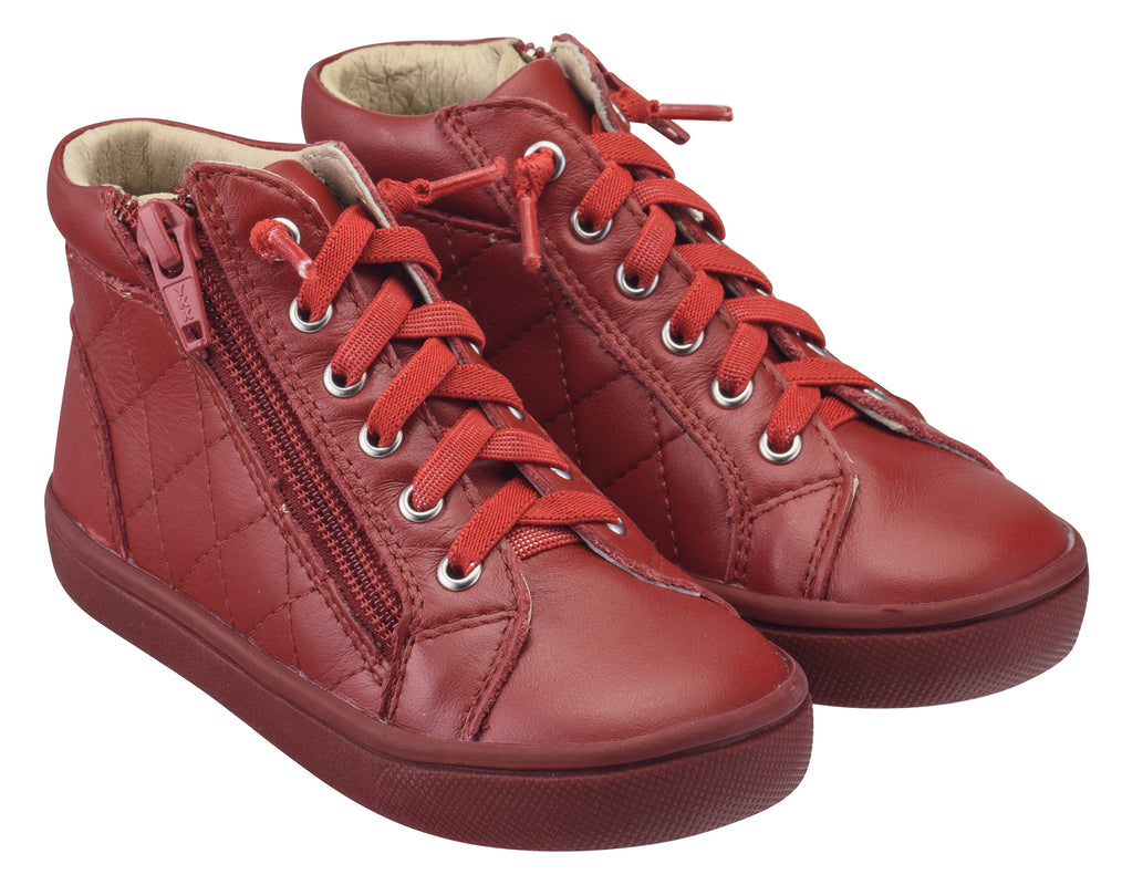 Old Soles Boy's and Girl's 6007 Eazy-Q Red Quilt Stitch Leather High Top Lace Up Side Zipper Side Sneaker