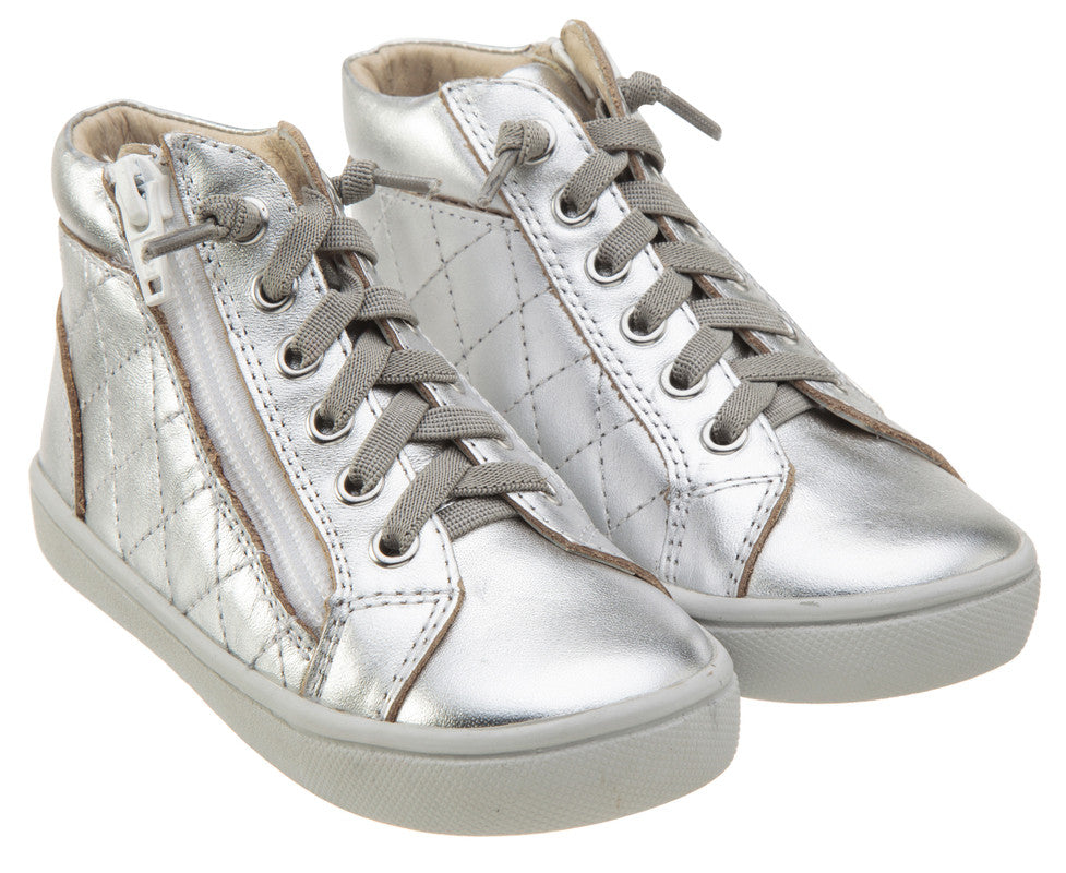 Old Soles Boy's and Girl's 6007 Eazy-Q Silver Quilt Stitch Leather High Top Lace Up Side Zipper Side Sneaker