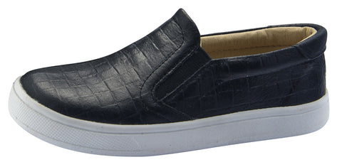 Old Soles Boy's Dressy Hoff Leather Sneakers, Black Weave