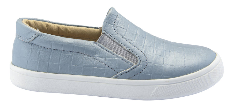 Old Soles Boy's and Girl's Dressy Hoff Leather Sneakers, Dusty Blue Weave