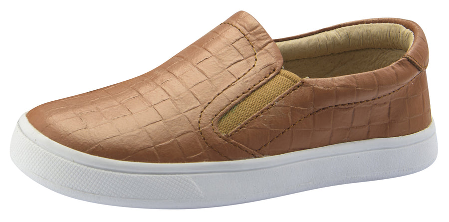 Old Soles Boy's and Girl's Dressy Hoff Leather Sneakers, Tan Weave