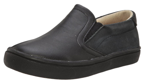 Old Soles Girl's and Boy's 6010 Dress Hoff Black Smooth Leather Slip On Loafer Sneaker
