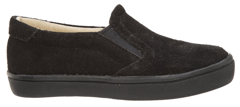 Old Soles Girl's and Boy's 6010 Dressy Hoff Black Soft Suede and Smooth Leather Slip On Loafer Sneaker