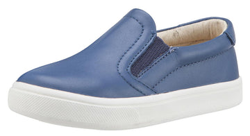 Old Soles Boy's & Girl's 6010 Dressy Hoff Denim Blue Leather Slip On Sneaker Shoe