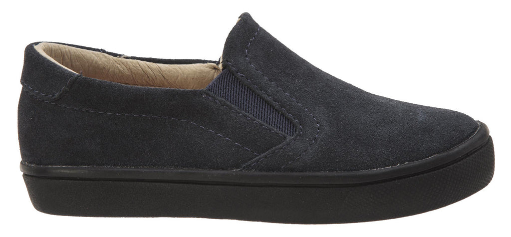 Old Soles Girl's and Boy's 6010 Dressy Hoff Navy Soft Suede and Smooth Leather Slip On Loafer Sneaker