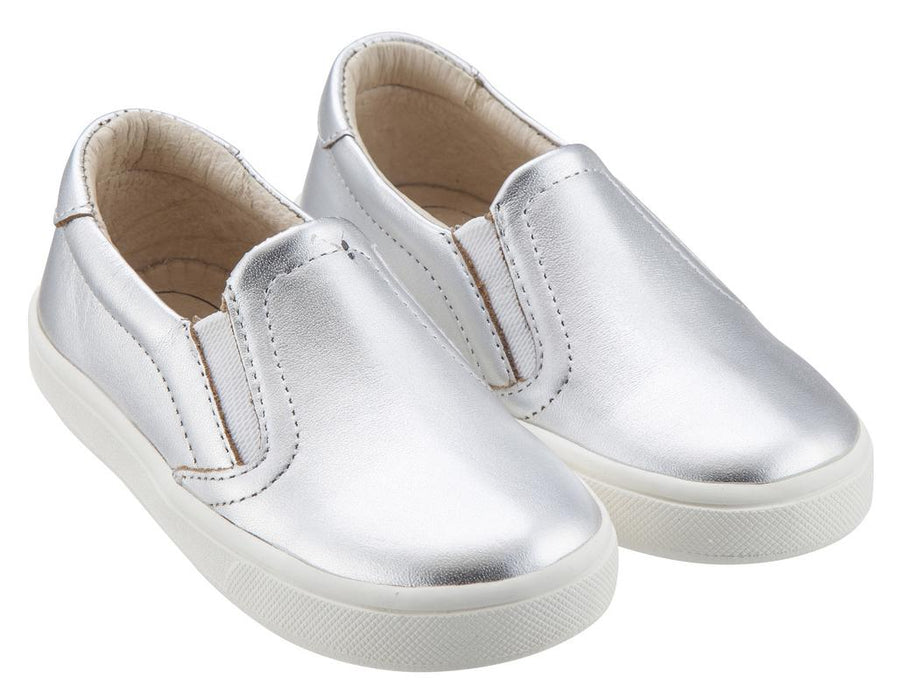Old Soles Boy's & Girl's 6010 Dressy Hoff Silver Leather Slip On Sneaker Shoe