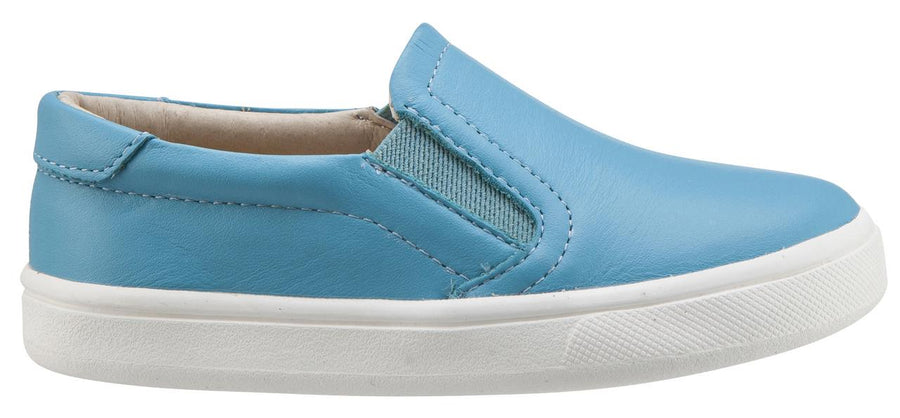 Old Soles Boy's & Girl's 6010 Dressy Hoff Turquoise Blue Leather Slip On Sneaker Shoe