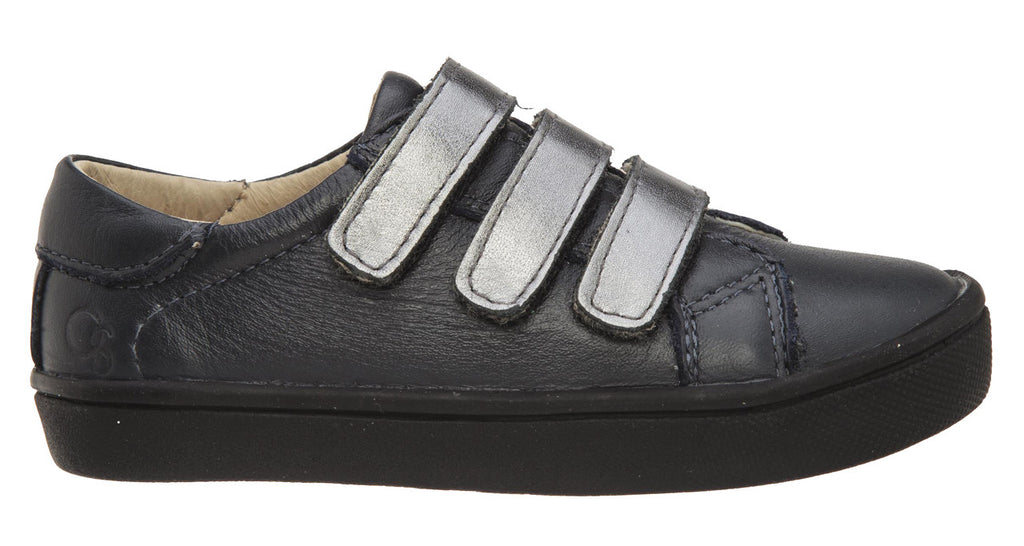 Old Soles Boy's and Girl's 6012 Edgey Markert Navy Rich Silver Leather Triple Hook and Loop Sneaker