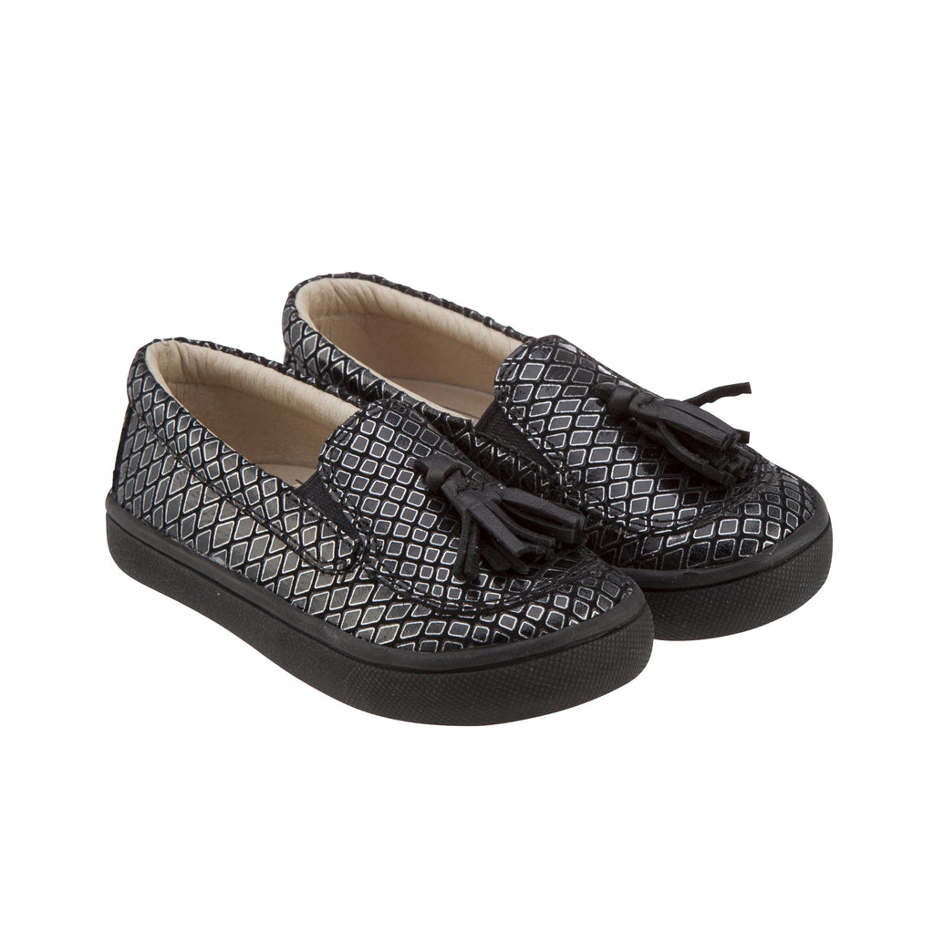 Old Soles Boy's and Girl's 6014 Tassled Silver Deco Leather Slip On Tassel Loafer Sneakers