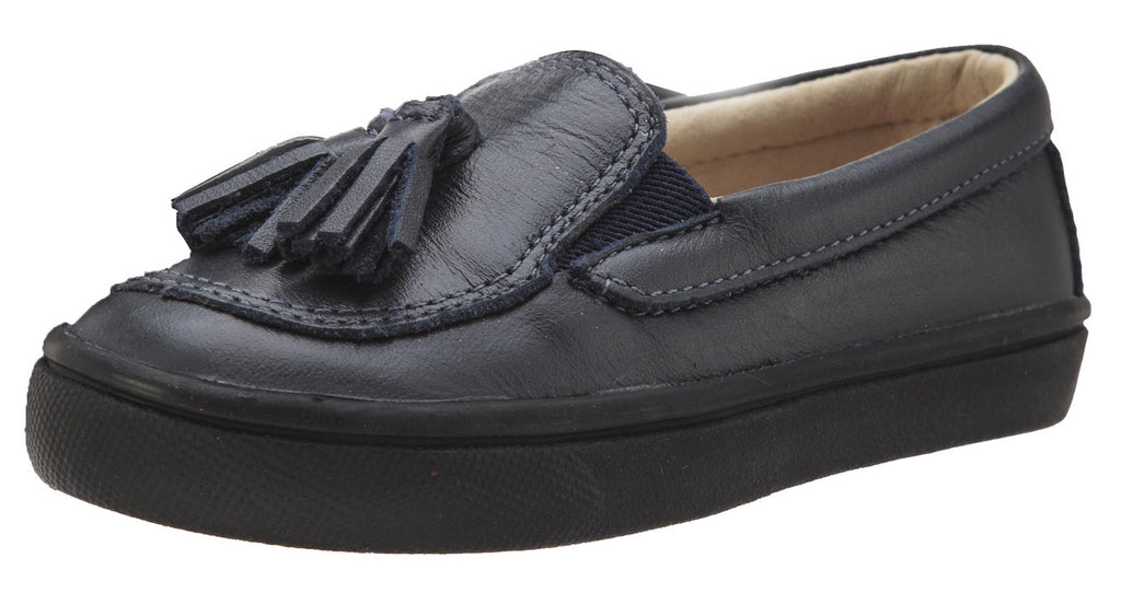 Old Soles Boy's and Girl's 6014 Tassled Navy Leather Slip On Tassel Loafer Sneakers