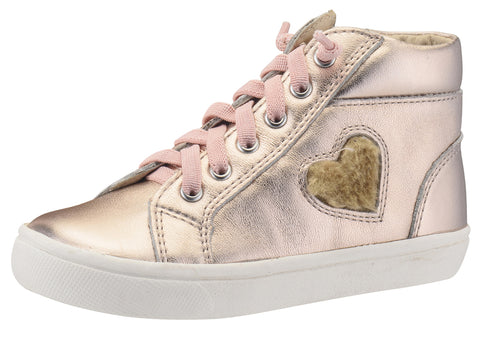 Old Soles Girl's 6015 Heart Felt High Top Copper Smooth Leather Lace Up Side Zipper Plush Fur Heart Sneaker