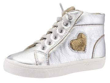 Old Soles Girl's 6015 Heart Felt High Top Silver Smooth Leather Lace Up Side Zipper Plush Fur Heart Sneaker