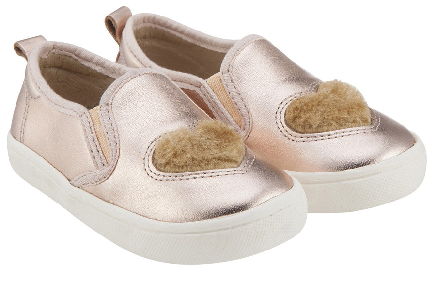 Old Soles Girl's 6016 Hoff Heart Copper Soft Plush Fur Heart Upper Smooth Leather Slip On Loafer Sneaker