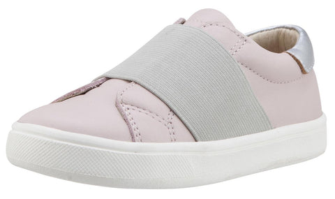 Old Soles Girl's 6018 Master Shoe Pink with Silver Wide Banded Slip On Sneaker Shoe