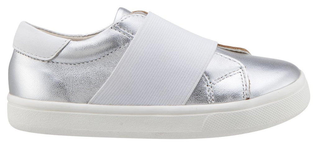 Old Soles Girl's & Boy's 6018 Master Shoe Silver Leather White Wide Banded Slip On Sneaker Shoe