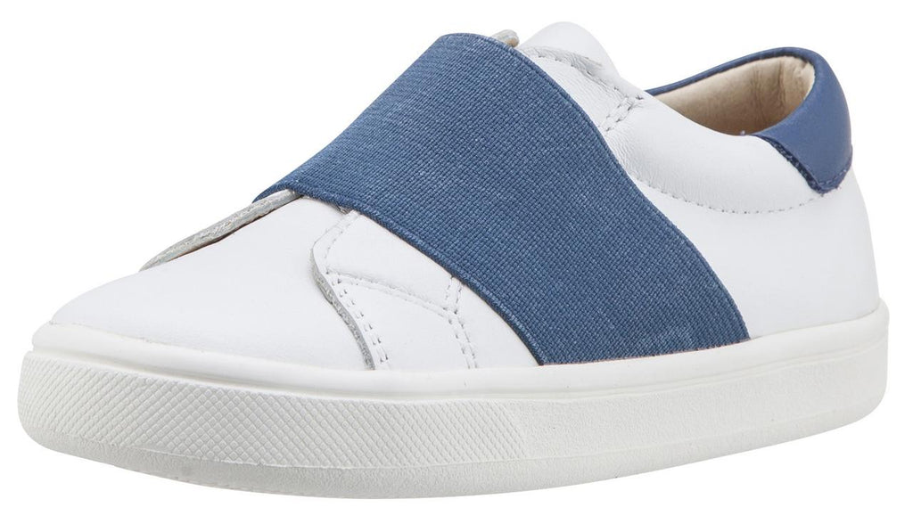 Old Soles Boy's & Girl's 6018 Master Shoe White Leather Denim Blue Wide Banded Slip On Sneaker Shoe