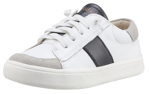 Old Soles Boy's & Girl's 6019 High St Shoe Black Side Stripe White Leather with Faux Laces and Zippered Sneaker Shoe