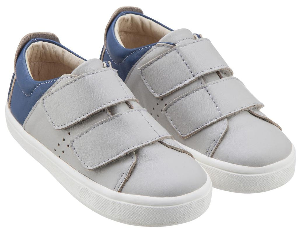 Old Soles Boy's & Girl's 6024 Toko Shoe Grey and Denim Blue Leather Bicolor Sneaker Shoe with Double Hook and Loop Straps