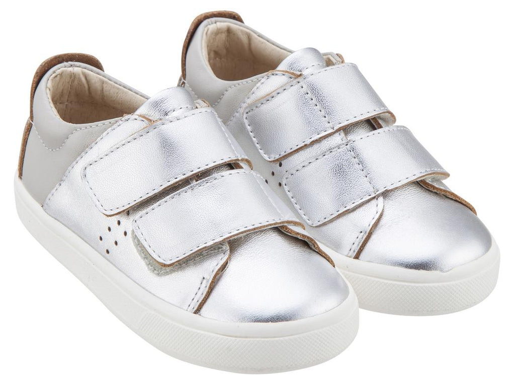 Old Soles Boy's & Girl's 6024 Toko Shoe Silver and Grey Leather Bicolor Sneaker Shoe with Double Hook and Loop Straps