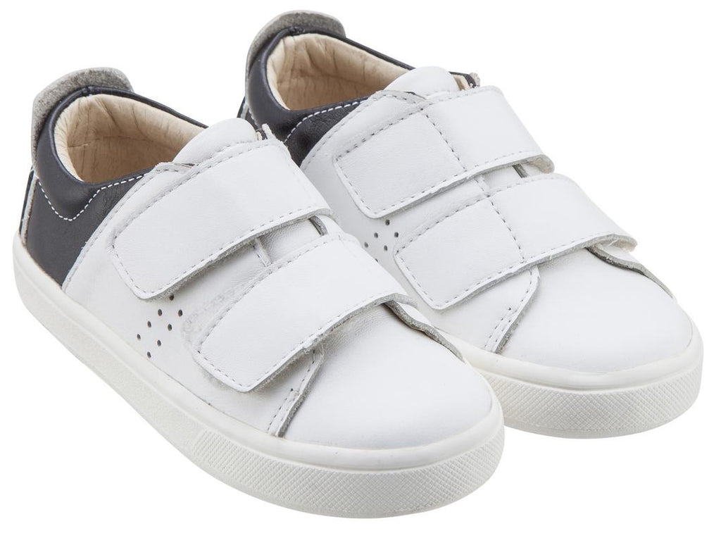Old Soles Boy's & Girl's 6024 Toko Shoe White and Black Leather Bicolor Sneaker Shoe with Double Hook and Loop Straps