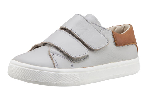 Old Soles Boy's & Girl's 6025 Cast Away Runner Gris/Tan Leather Bicolor Sneaker Shoe with Double Hook and Loop Straps