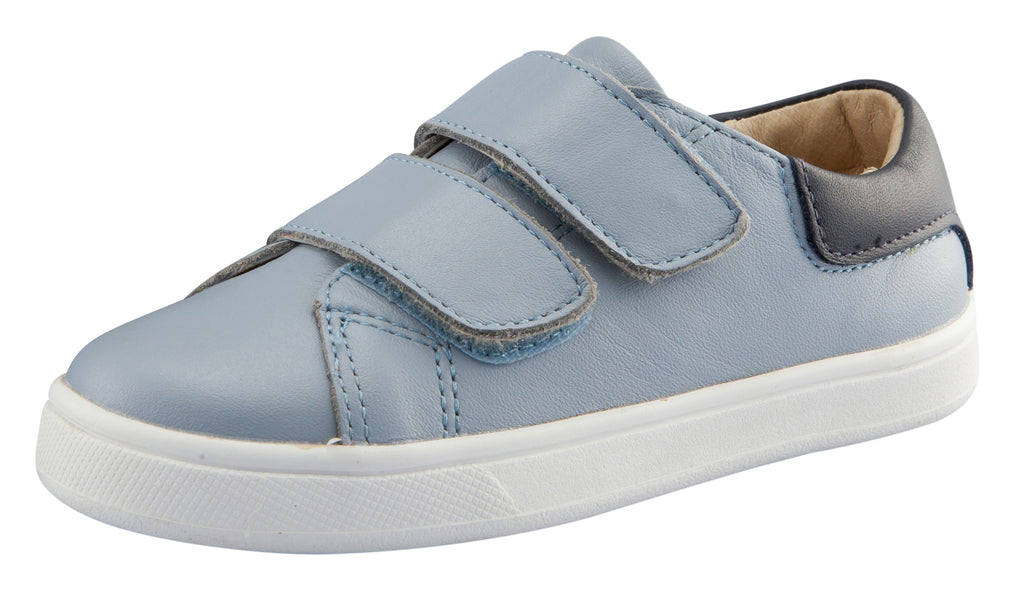 Old Soles Boy's and Girl's Castaway Runner Leather Sneakers, Dusty Blue/Navy