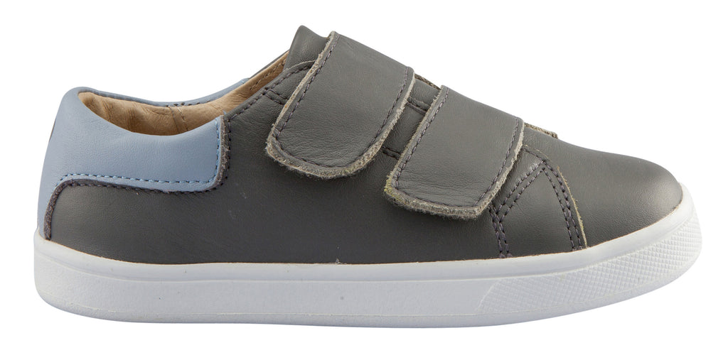 Old Soles Boy's and Girl's Castaway Runner Leather Sneakers, Grey/Dusty Blue