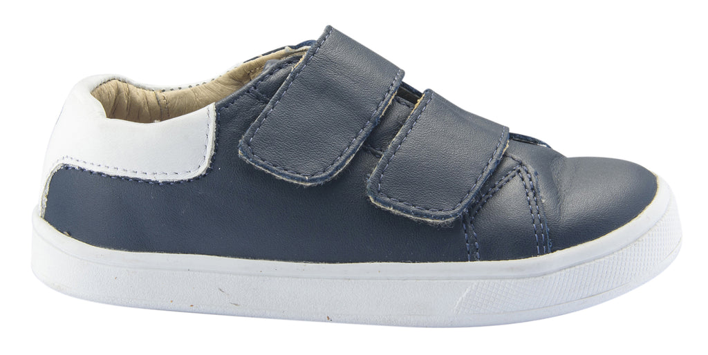 Old Soles Boy's and Girl's Castaway Runner Leather Sneakers, Navy/Snow