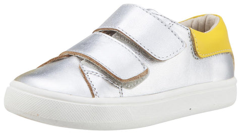 Old Soles Boy's & Girl's 6025 Cast Away Runner Silver with Yellow Back Piece Leather Bicolor Sneaker Shoe with Double Hook and Loop Straps