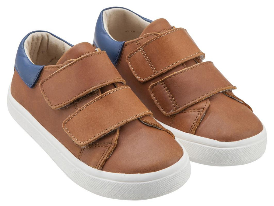 Old Soles Boy's & Girl's 6025 Cast Away Runner Tan with Denim Blue Back Piece Leather Bicolor Sneaker Shoe with Double Hook and Loop Straps