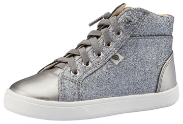 Old Soles Girl's Ring Sneakers, Glam Gunmetal / Rich Silver