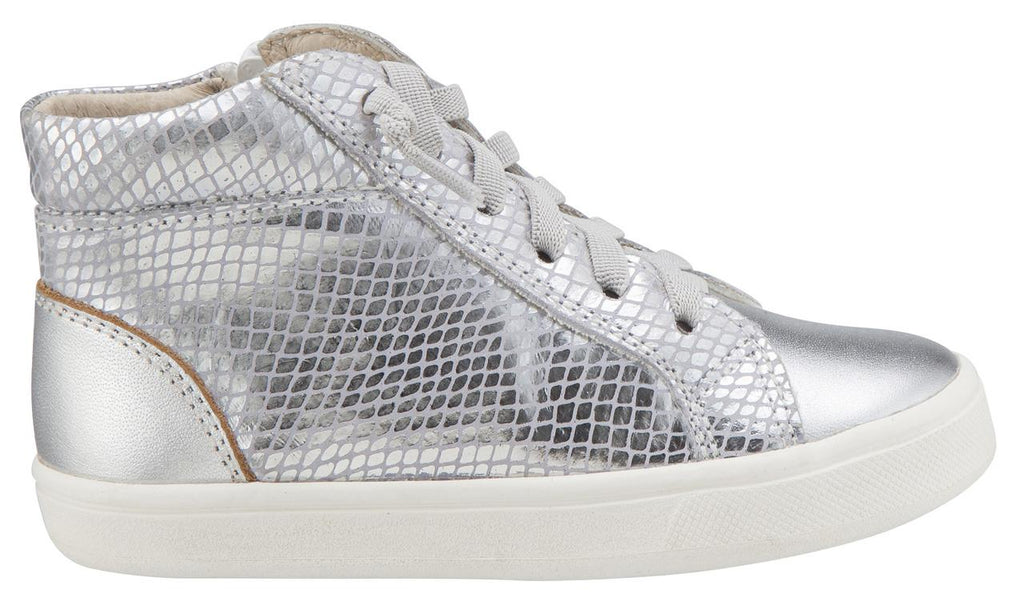 Old Soles Boy's & Girl's 6029 Ring Shoe Silver Metallic Leather Snake Print Embossed Elastic Lace Side Zipper High Top Sneaker