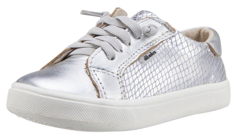 Old Soles Girl's Silver Snake Thor Runner Leather Sneakers