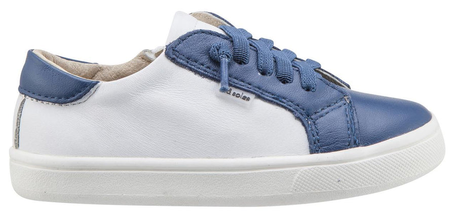 Old Soles Boy's & Girl's 6030 Thor Runner White and Blue Dual Color Leather with Faux Laces and Side Zipper Sneaker Shoe