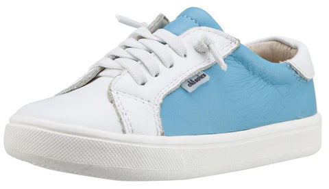 Old Soles Boy's & Girl's 6030 Thor Runner Turquoise Blue and White Dual Color Leather with Faux Laces and Side Zipper Sneaker Shoe