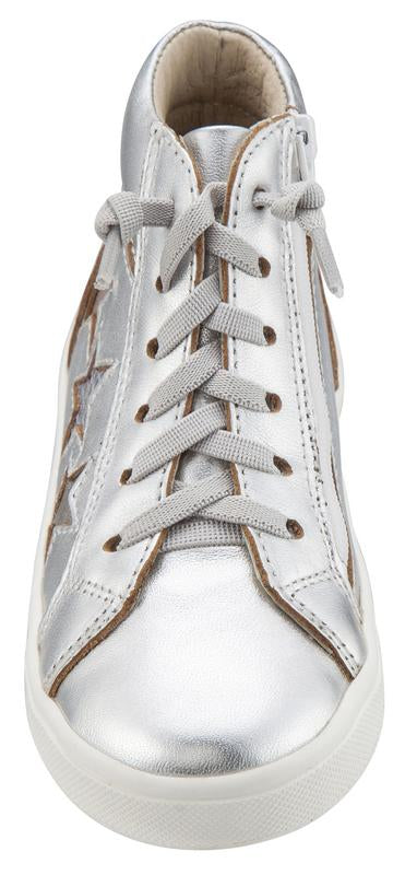 Old Soles Girl's and Boy's 6033 Stardom Silver Smooth Leather with Stars Elastic Lace Side Zipper High Top Sneaker
