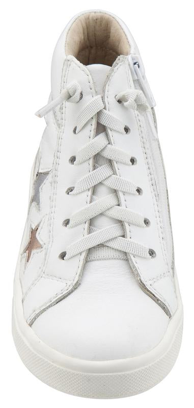Old Soles Girl's and Boy's 6033 Stardom White Smooth Leather with Stars Elastic Lace Side Zipper High Top Sneaker