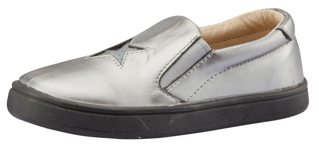 Old Soles Girl's and Boy's Starey Hoff  Slip-On Shoe, Rich Silver / Cat-Silver