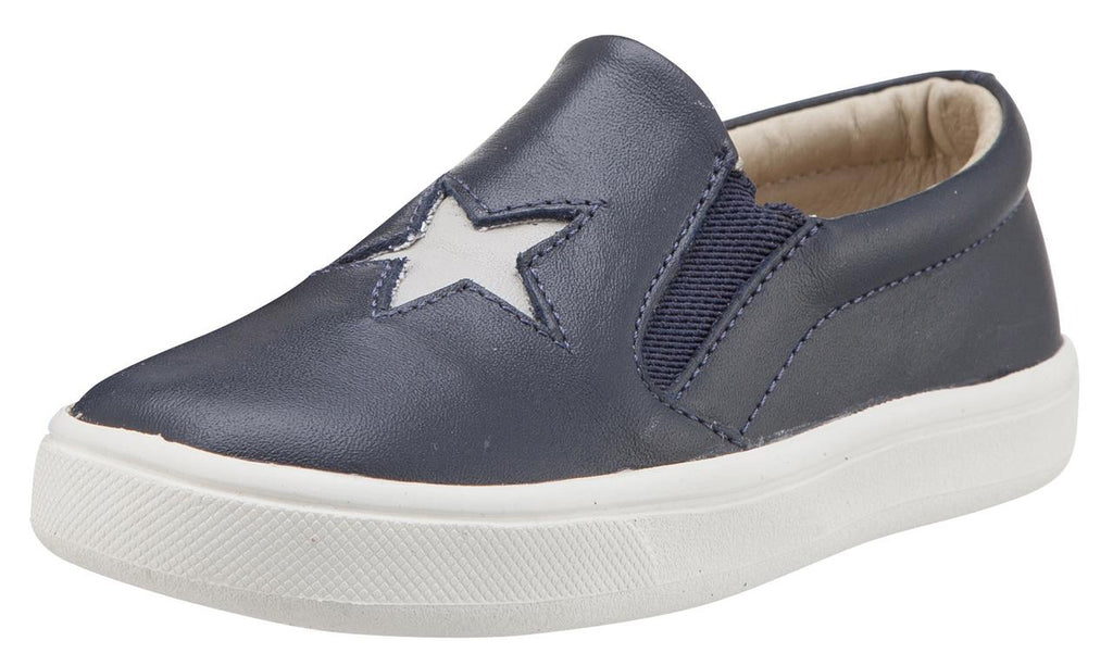 Old Soles Boy's and Girl's Starey Hoff Leather Sneakers, Navy Blue