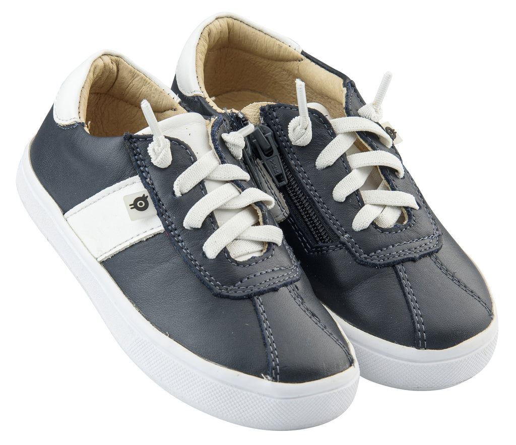 Old Soles Boy's and Girl's Vintage Spots Leather Sneakers, Navy